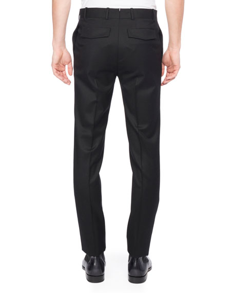 Flannel Wool Suit Pants, Black