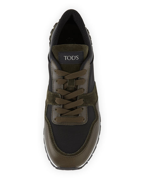 Men's Nylon & Leather Trainer Sneakers, Black/Green