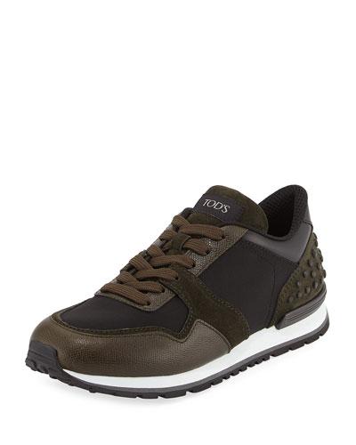 Men's Nylon & Leather Trainer Sneakers, Black/Green