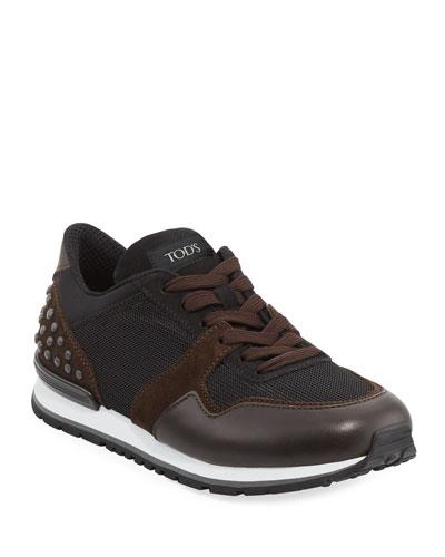 Men's Mesh & Leather Trainer Sneaker, Black/Brown