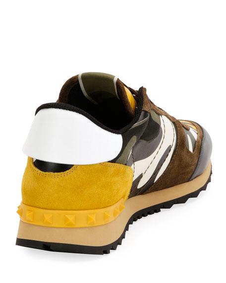 6054d6766fa3e Valentino Garavani Men's Rockrunner Camo Leather Sneaker, Yellow