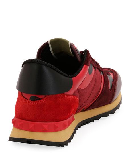 Men's Rockrunner Camo Leather Sneaker, Red