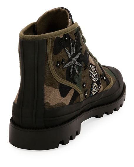 Tattoo Canvas Combat Boot, Green