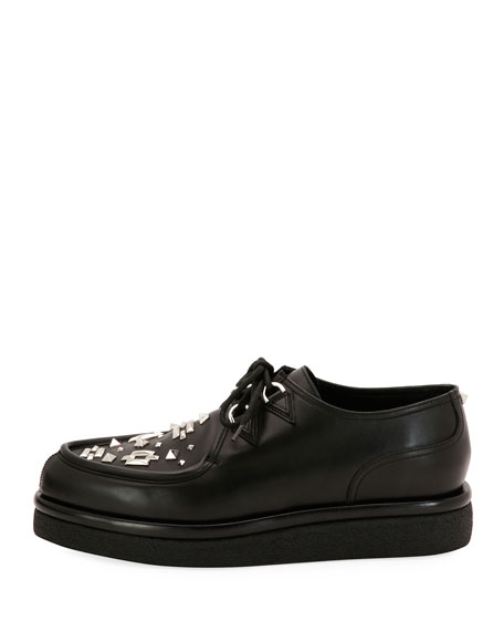 VALENTINO V Creep Leather Lace-Up Platform Shoe, Black