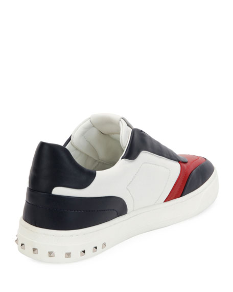 Colorblock Leather Low-Top Sneaker, Blue