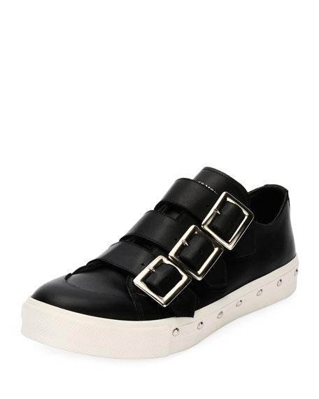 Triple-Buckle Leather Tennis Shoe, Black
