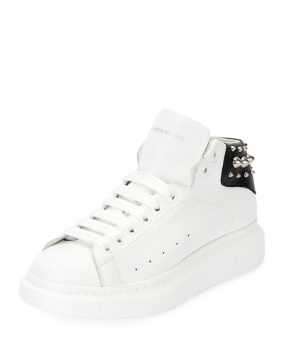 Studded Leather High-Top Sneaker, White/Black