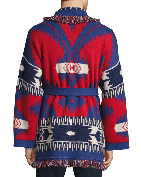 Southwestern Cashmere Wrap Sweater, Red/Multi