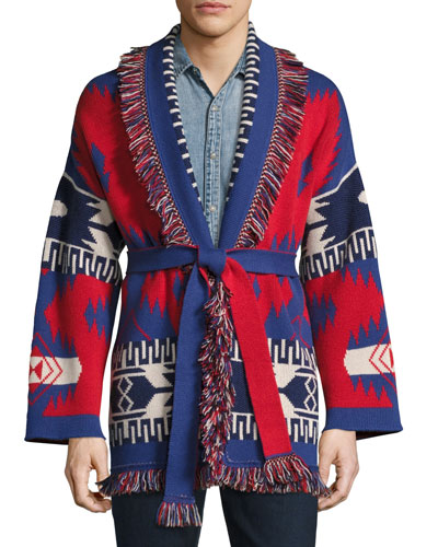 Southwestern Cashmere Wrap Sweater  Red/Multi