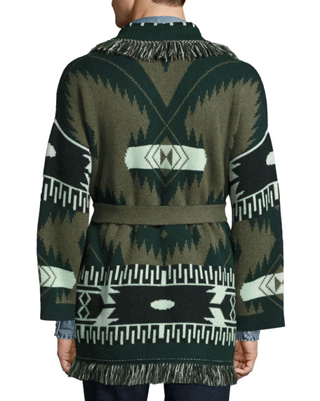 Southwestern Cashmere Wrap Sweater, Green/Multi