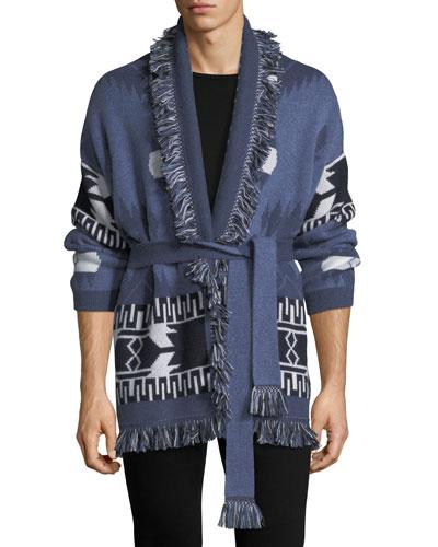 Southwestern Cashmere Wrap Sweater, Blue