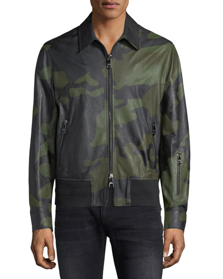 Camo Lamb Leather Bomber Jacket
