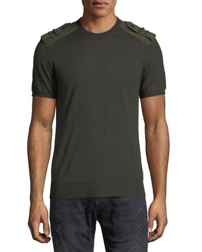 Crewneck T-Shirt w/ Faux Suede Epaulets