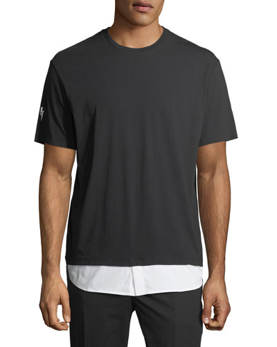 Cotton T-Shirt with Shirttail Hem