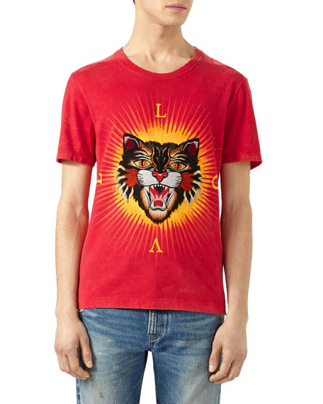 a725af38a Gucci Cotton T-Shirt with Angry Cat Appliqué
