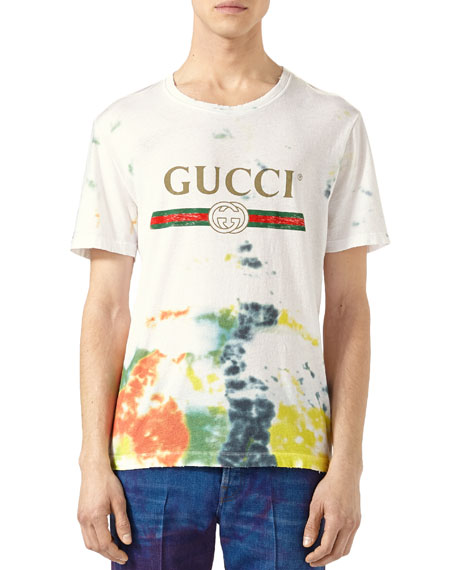 Cotton Tie-Dye T-Shirt with Gucci Print
