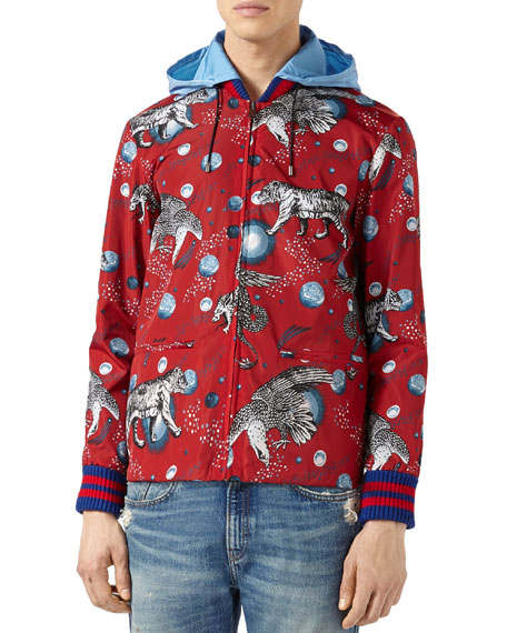 Space Animals Rain Jacket, Red