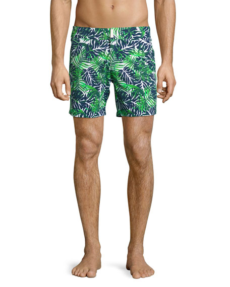 Madrague Palm Leaves Swim Trunks, White