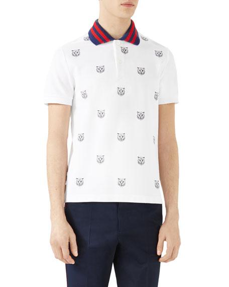 d5b86921b Gucci Tiger Head Polo Shirt, White