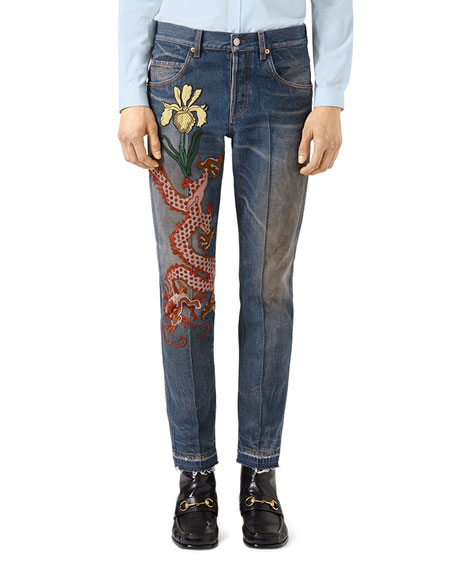 Tapered Jeans with Dragon Embroidery