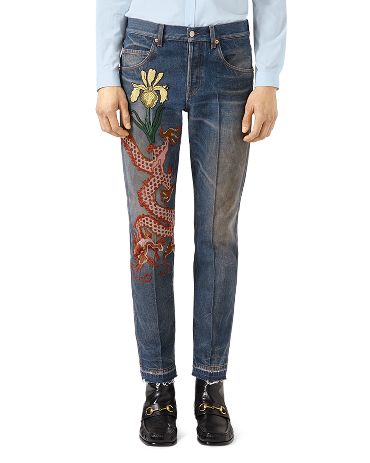 selezione premium 0e305 8bb47 Gucci Tapered Jeans with Dragon Embroidery