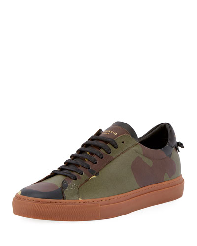 Urban Street Camouflage Leather Low-Top Sneaker, Multi