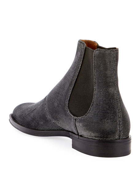 Rider Metallic Textured Chelsea Boot, Silver
