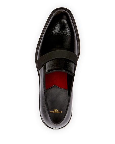 Rider Patent Formal Loafer with Grosgrain Trim, Black