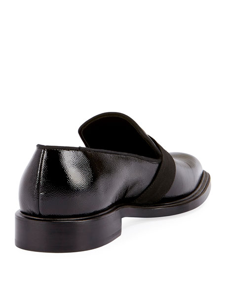 Rider Patent Formal Loafer with Grosgrain Trim, Black