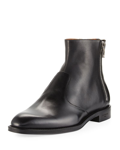 Leather 3-Zip Ankle Boot