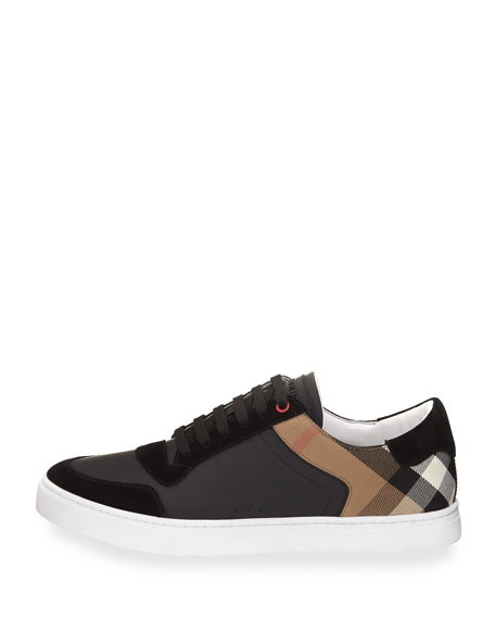 Men's Reeth Leather & House Check Low-Top Sneakers, Black