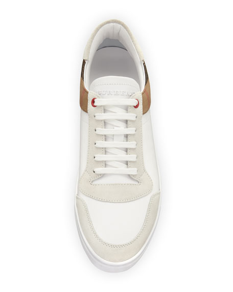 Men's Reeth Leather & House Check Low-Top Sneakers, White