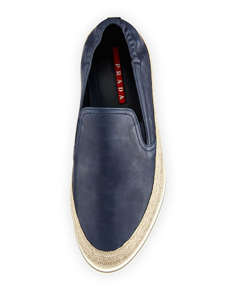 Men's Leather Slip-On Espadrille Sneakers, Blue
