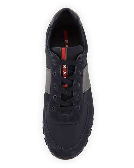 Nylon & Suede Running Sneaker, Blue