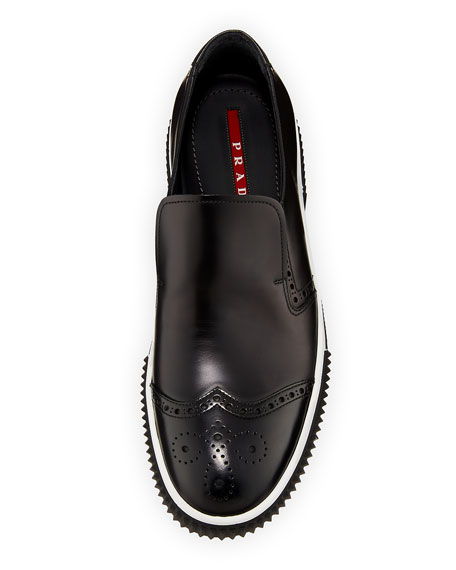 Spazzolato Brogue Slip-on Sneaker, Black