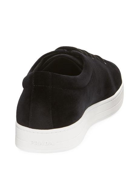 Gentleman Velvet Low-Top Sneaker, Black