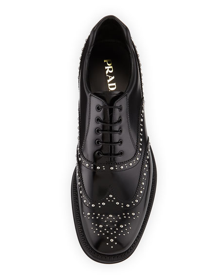 Studded Spazzolato Brogue Dress Shoe, Black