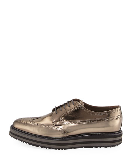 Men's Metallic Leather Brogue Creeper