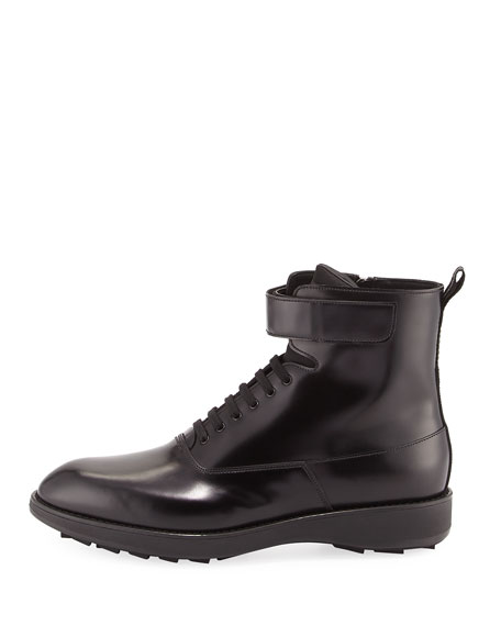 fed5ed1f909 Leather Lace-Up Combat Boot Black