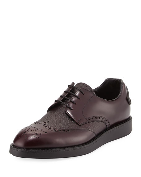 Prada Patent Brogue Oxford, Brown