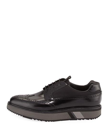 Patent Leather Brogue Sneaker, Black