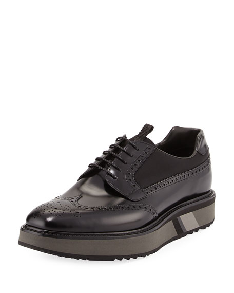 Patent Leather Brogue Sneaker, Black