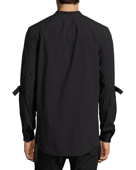 Strap-Sleeve Cotton Shirt, Black