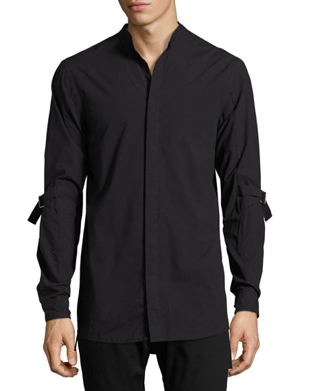 Strap-Sleeve Cotton Shirt, Black