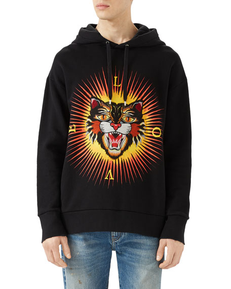 Cotton Sweatshirt with Angry Cat Appliqu&#233, Black