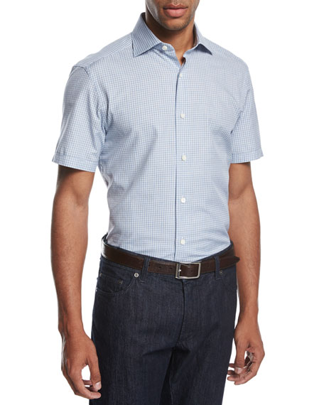 Ermenegildo Zegna Check Seersucker Short-Sleeve Shirt, Blue/White