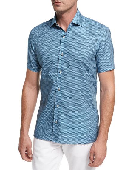 Violin-Print Short-Sleeve Cotton Shirt, Medium Green