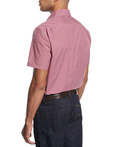 Check Short-Sleeve Shirt, Medium Red