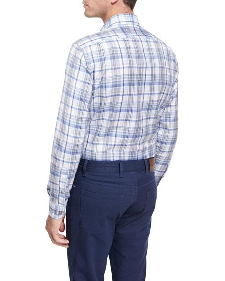 Oversize-Plaid Cotton Shirt, Blue