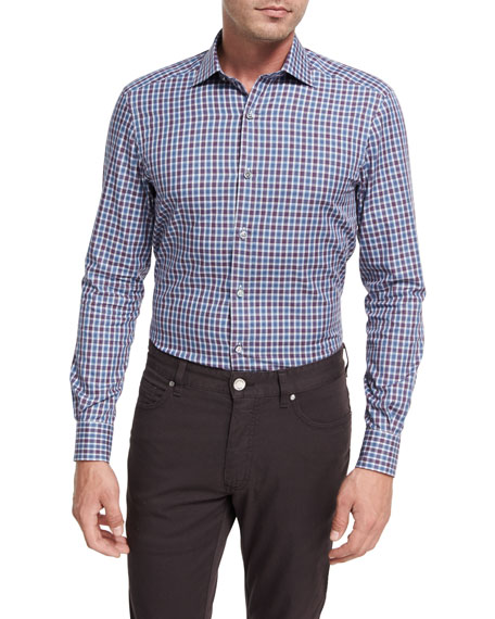 Shadow Plaid Cotton Sport Shirt, Burgundy/Blue/White